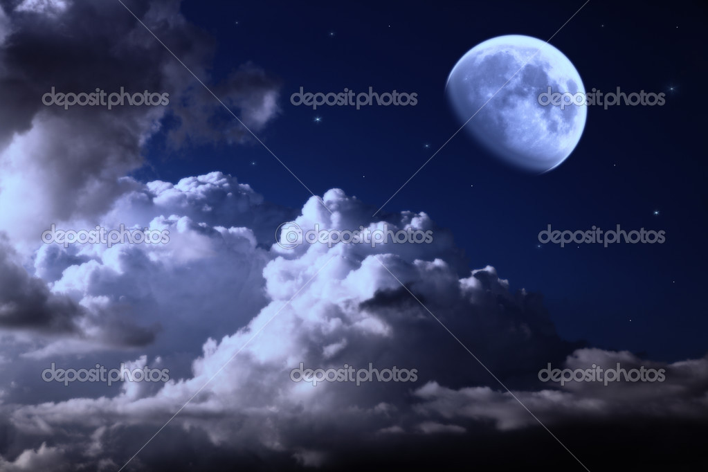 Night sky with the moon, clouds and stars — Lizenzfreies Foto #3449290