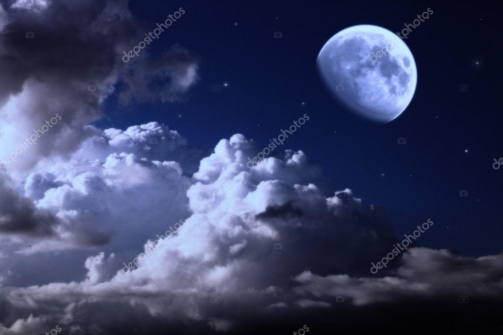 Night sky with the moon, clouds and stars  Foto de Stock   #3449290