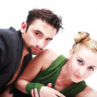 Stylish young man and woman isolated — Stock Photo