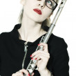 Woman with a flute and glasses on white background - Stock Photo
