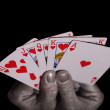 Royalty-Free Stock Photo: Playing cards in the silver hands