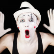 Mime in striped gloves and white hat — Stock Photo #3671061