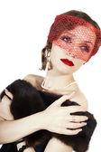 Retro retrato de uma jovem mulher bonita — Fotografia Stock