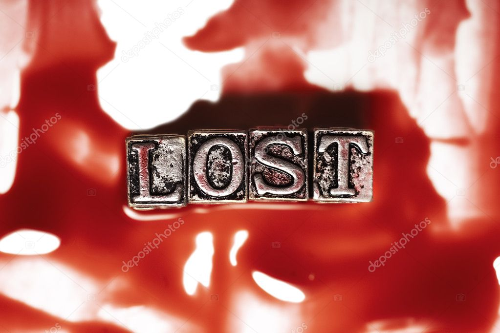 Metal word lost in drops of blood — Stock Photo #3758538
