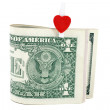 Royalty-Free Stock Photo: U.S. one dollars with symbol of heart