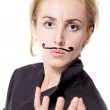 Woman with painted mustache - Photo