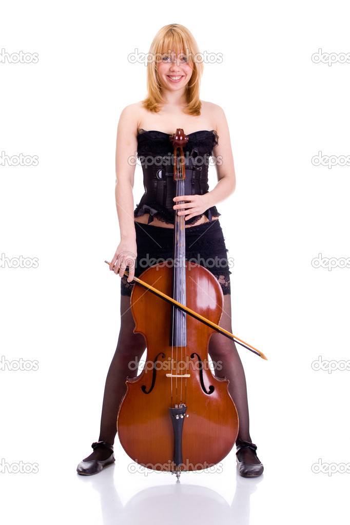 Sexy girl portrait with cello on white background — Stock Photo #3842958