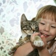 Stock Photo: Girl with kitten