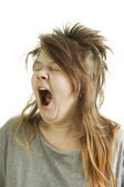 Sleepy girl yawning — Stock Photo