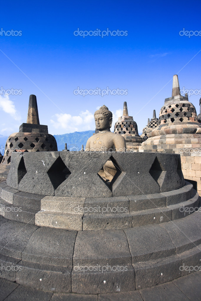 Buddha statue in stupa. Borobudur. Java. Indonesia — Stock Photo #3306714
