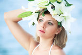 Woman in wreath — Stock Photo