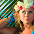 Woman in flower diadem — Stock Photo