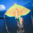 Woman with kite — Stock Photo