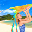 Woman with kite - Stock Photo