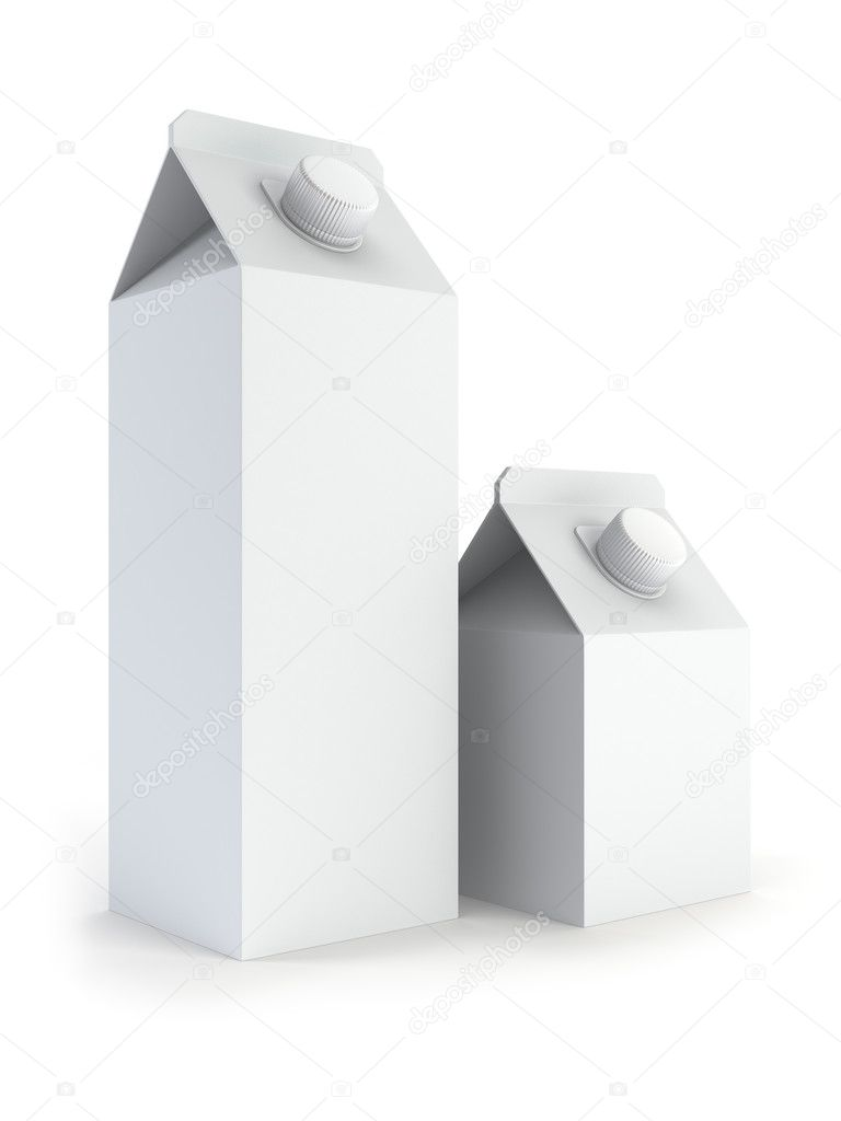 Two isilated blank milk box 3d rendering   #2719168