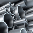 Stock Photo: Stack of steel tubing