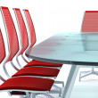 Boardroom with table and chairs — Stock Photo