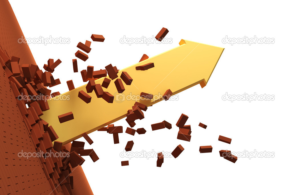3d arrow burst through brick wall — Stock Photo #3231508