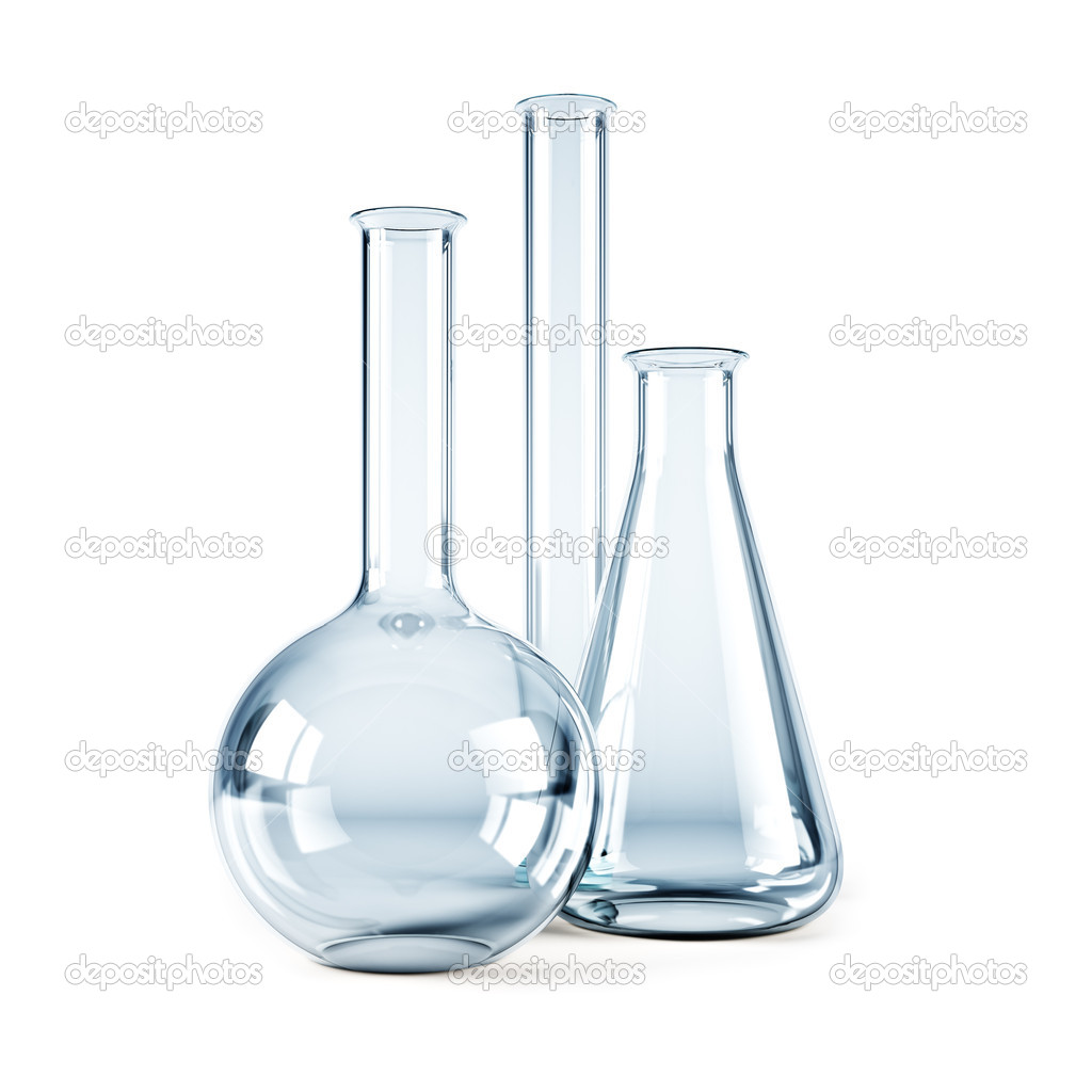 Isolated 3d rendering of the empty chemical flasks   Stock Photo #3231698