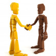 Two symbolic human make an agreement — Stock Photo #3249123