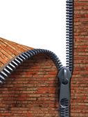 Unzip brick wall — Stock Photo