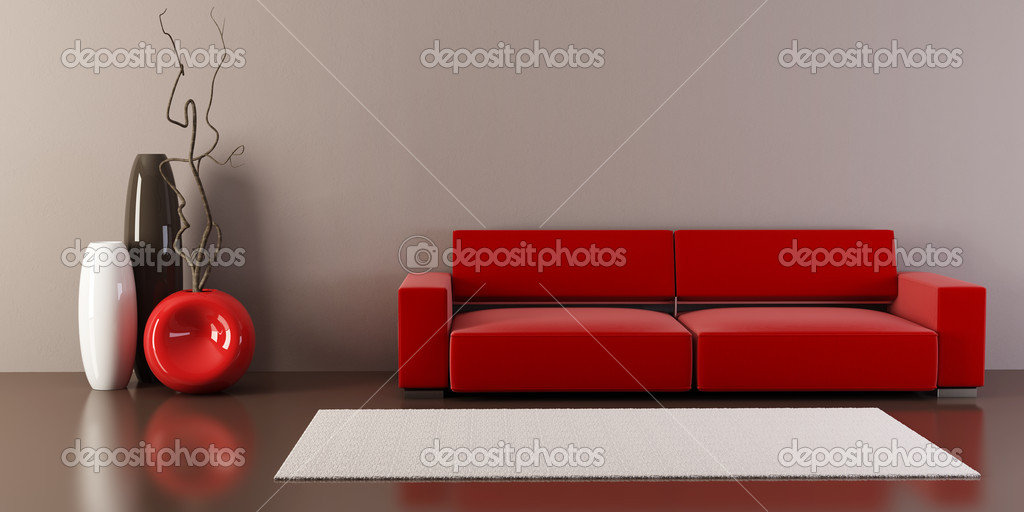 3d interior with couch and vases  Stock Photo #3249169