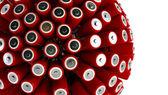 Kugel gefertigt von batterien — Stockfoto