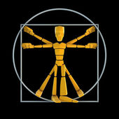 Symbolic man inscribed into circle and square — Stock Photo