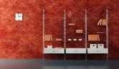 Lounge rum interiör med bokhylla — Stockfoto