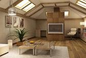 Rmodern mezipatro interiéru 3d — Stock fotografie