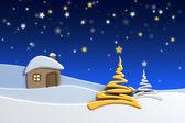 Dom w górach śnieg — Zdjęcie stockowe
