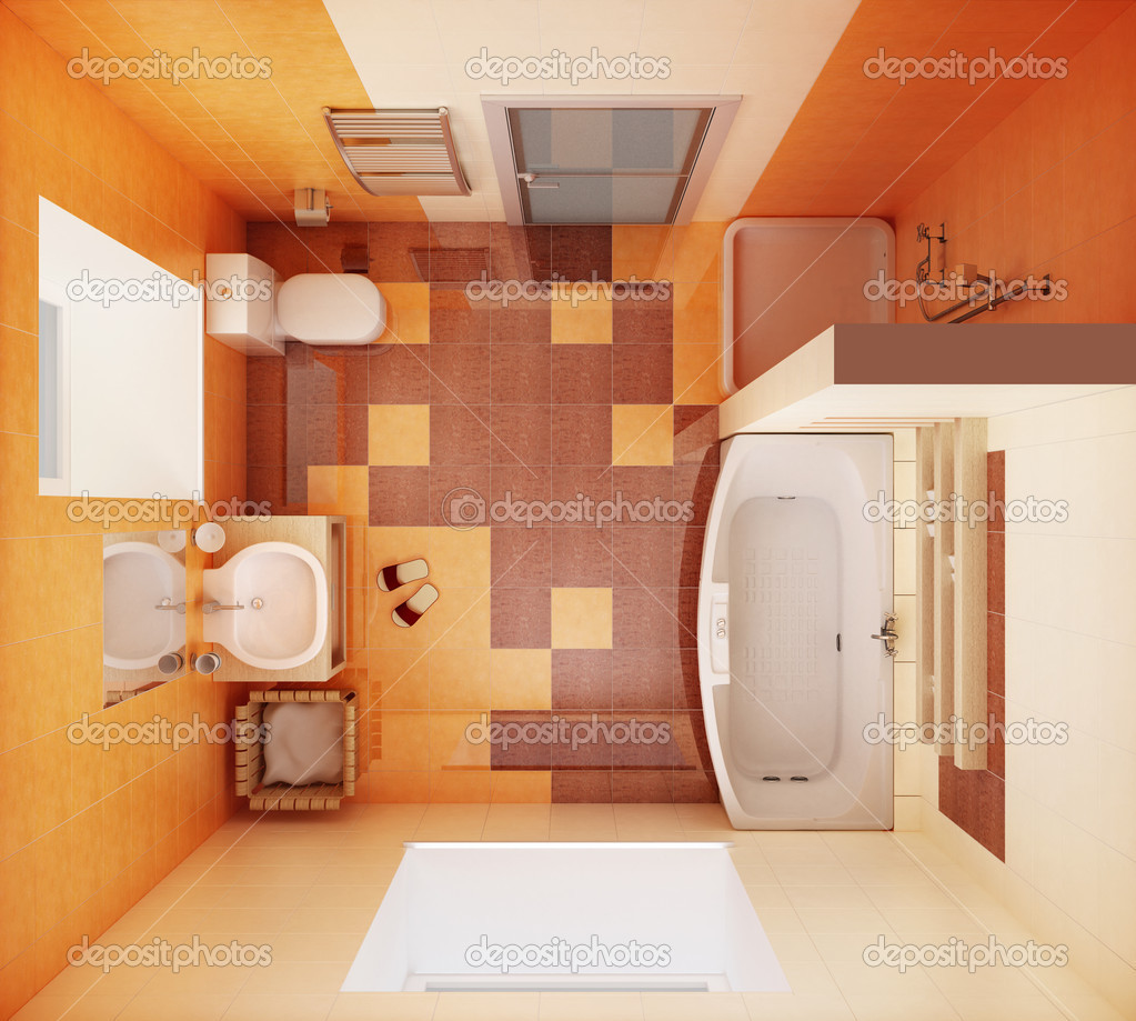 3d rendering of the modern bathroom from top view — Stock Photo #3271027