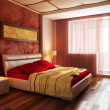 Modern style bedroom interior 3d - Stock Photo