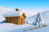 House in snow mountain — Stock Photo