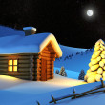 House in snow mountain — Stock Photo