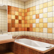 Tiled design of the bathroom - Stock Photo
