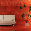 Couch into the red interior - Foto de Stock