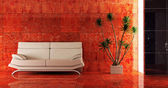 Couch ins Rote innere — Stockfoto