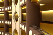 Trade centre futuristic interior — 图库照片