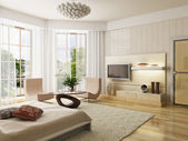 Bedroom interior rendering — Stok fotoğraf