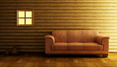 Modern couch 3D rendering — Stock Photo