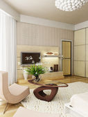 Modern bedroom interior rendering — Stock Photo