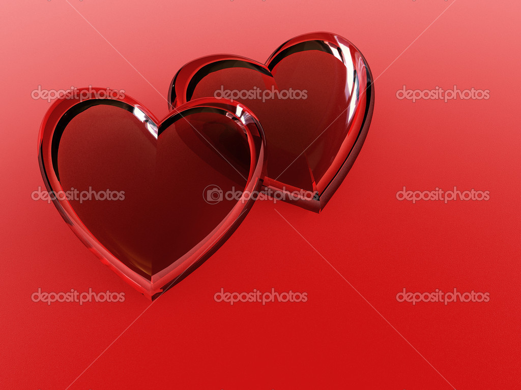 3d rendering of the couple hearts  Stock Photo #3406224