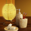 Lamp and bathroom accessories — Stock Photo