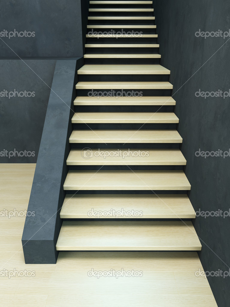 Wooden staircase, high resolution 3d rendering — Stock Photo #3731164