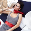 Summer Woman and Sailor fashion style — Stock Photo