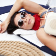Summer Woman and Sailor fashion style — Stok Fotoğraf #3107834