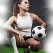 Sexy football player on stadium — Stock Photo #3108184