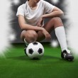 Sexy football player on stadium — Stock Photo #3108314