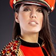 Sexy model wearing glamour uniform — Stock Photo